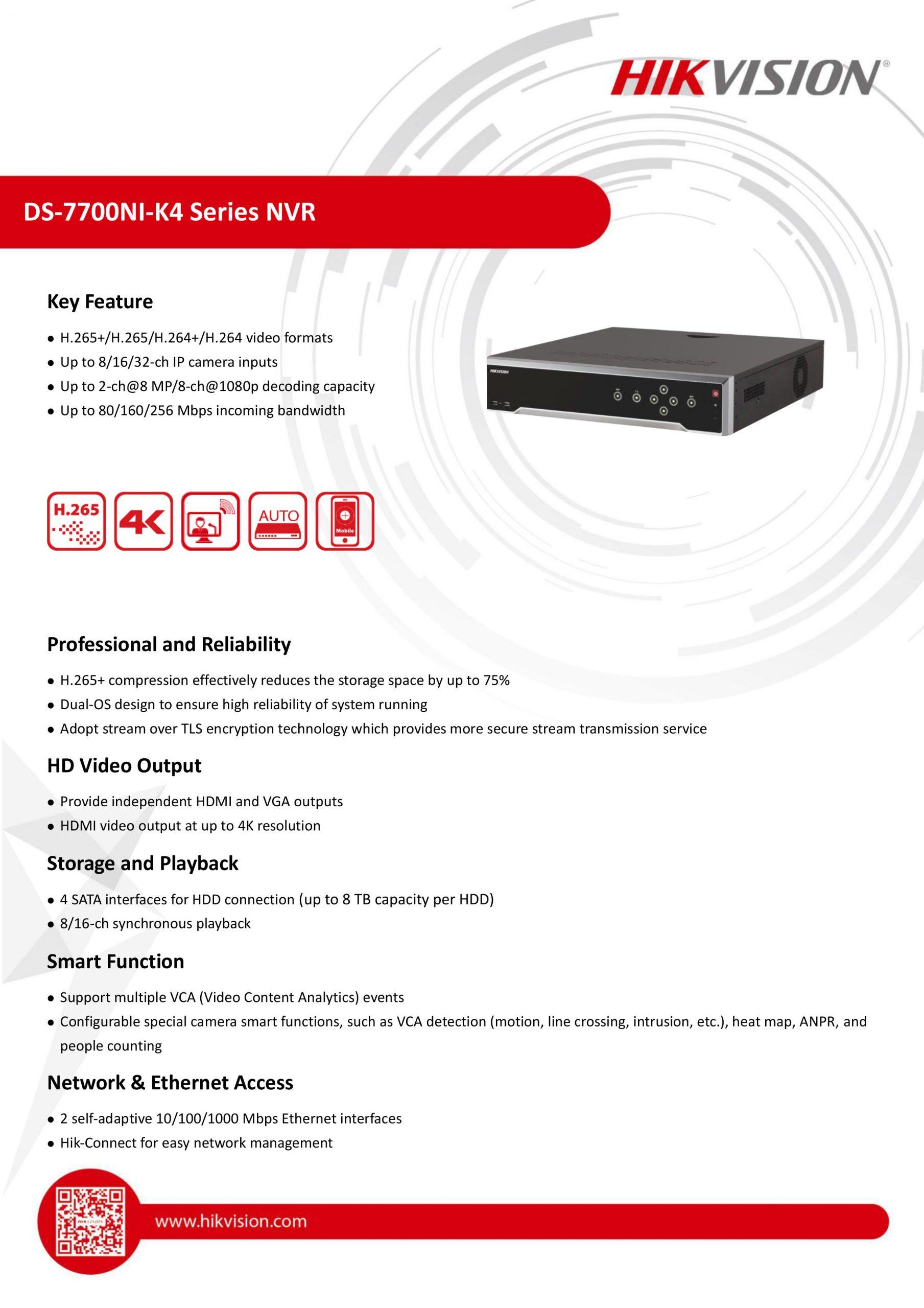Hikvision DS-7732NI-K4 32-ch 1.5U 4K NVR