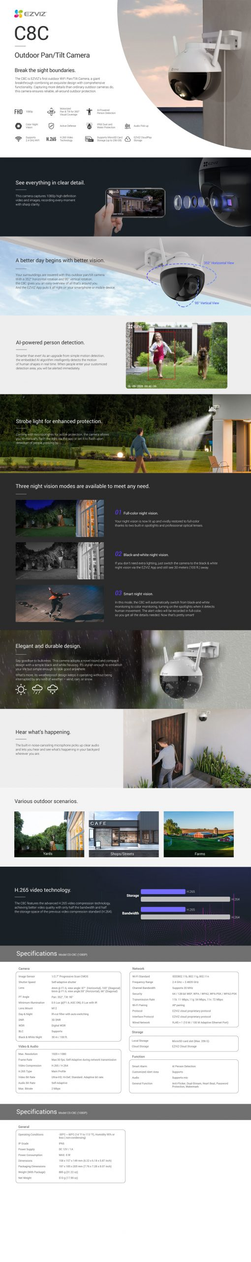 EZVIZ Outdoor Smart Wi-Fi Camera (CS-C8C-A0-1F2WFL1)