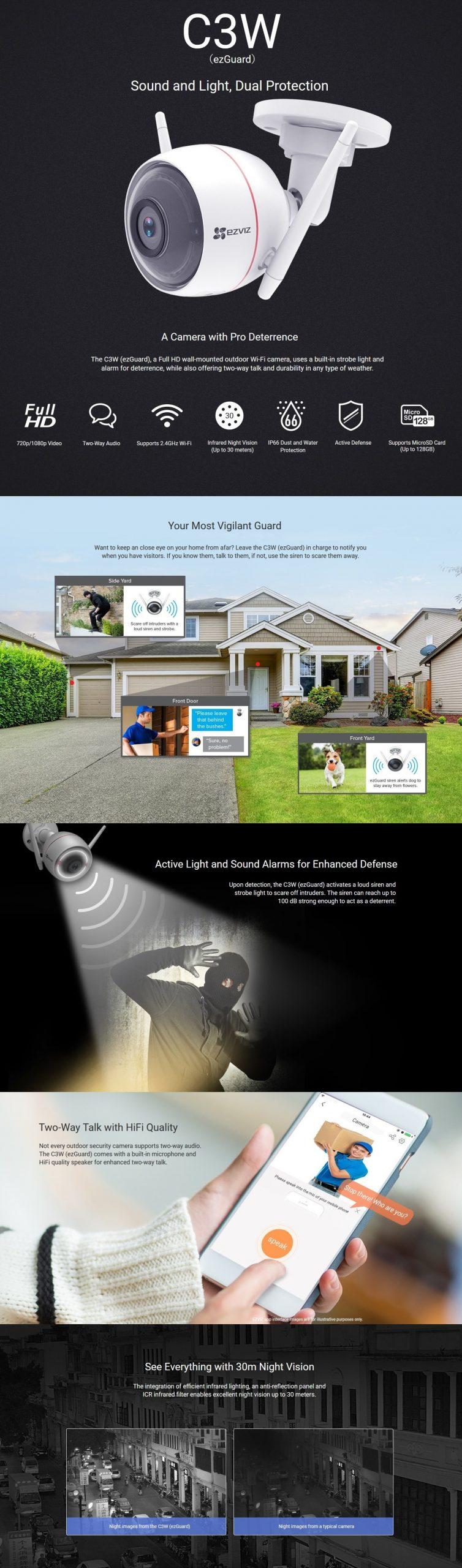 EZVIZ Outdoor Smart Wi-Fi Camera (CS-CV310-A0-1C2WFR)