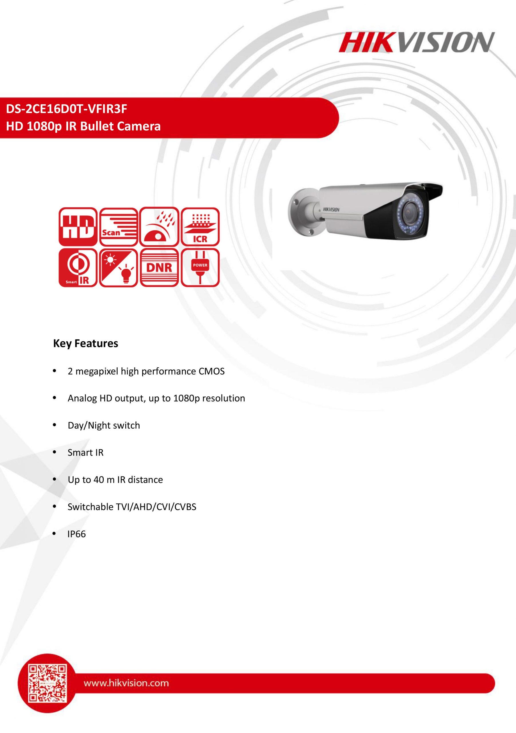 Hikvision DS-2CE16D0T-VFIR3F 2 MP Manual Varifocal Bullet Camera