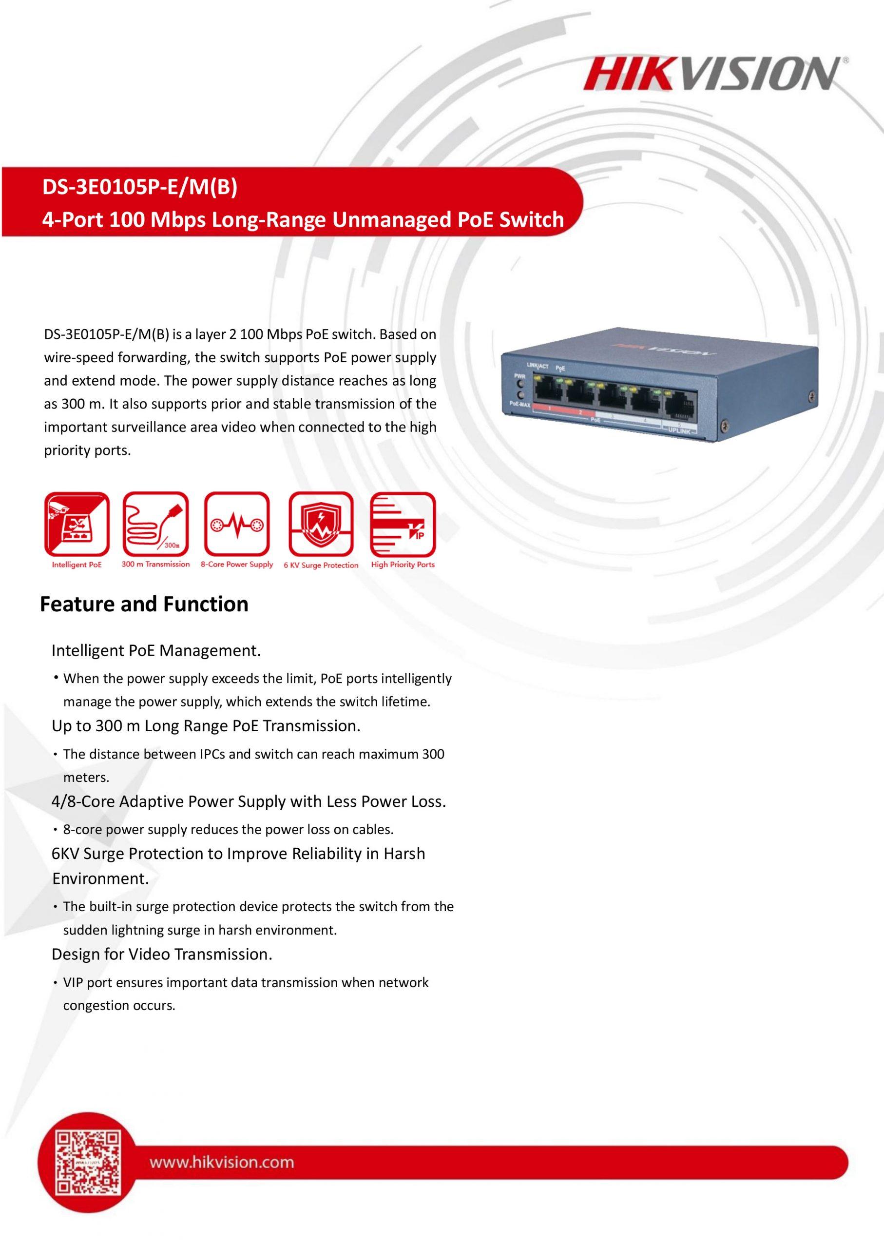 4-Port Long-Range Unmanaged PoE Switch (DS-3E0105P-E/M(B)