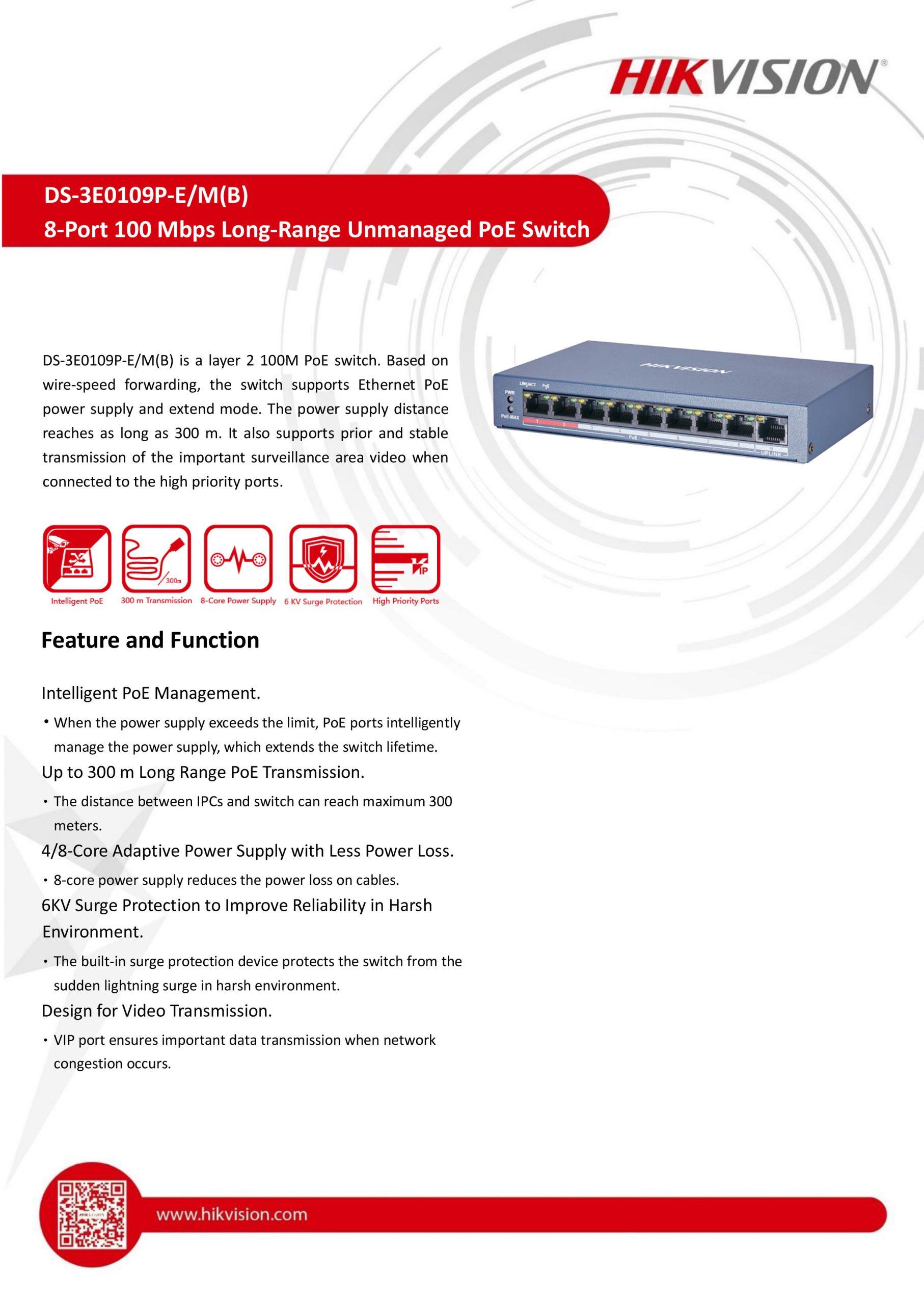 8-Port Long-Range Unmanaged PoE Switch - DS-3E0109P-E/M