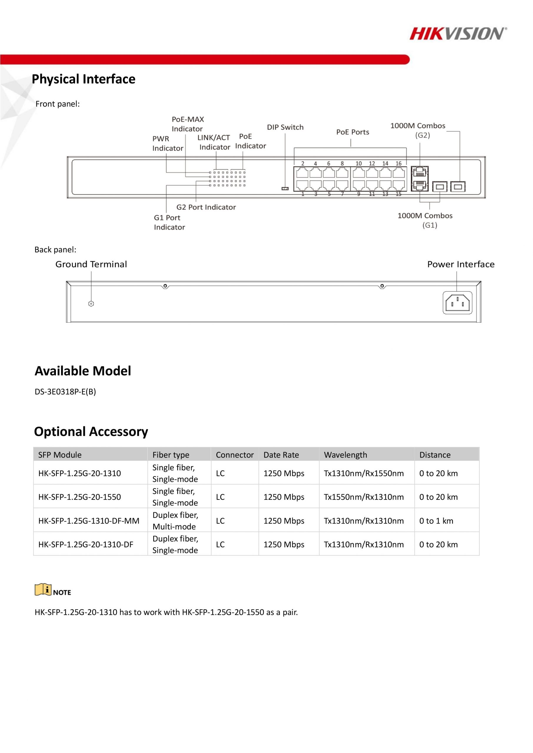 16-Port Long-Range Unmanaged PoE Switch - DS-3E0318P-E/M
