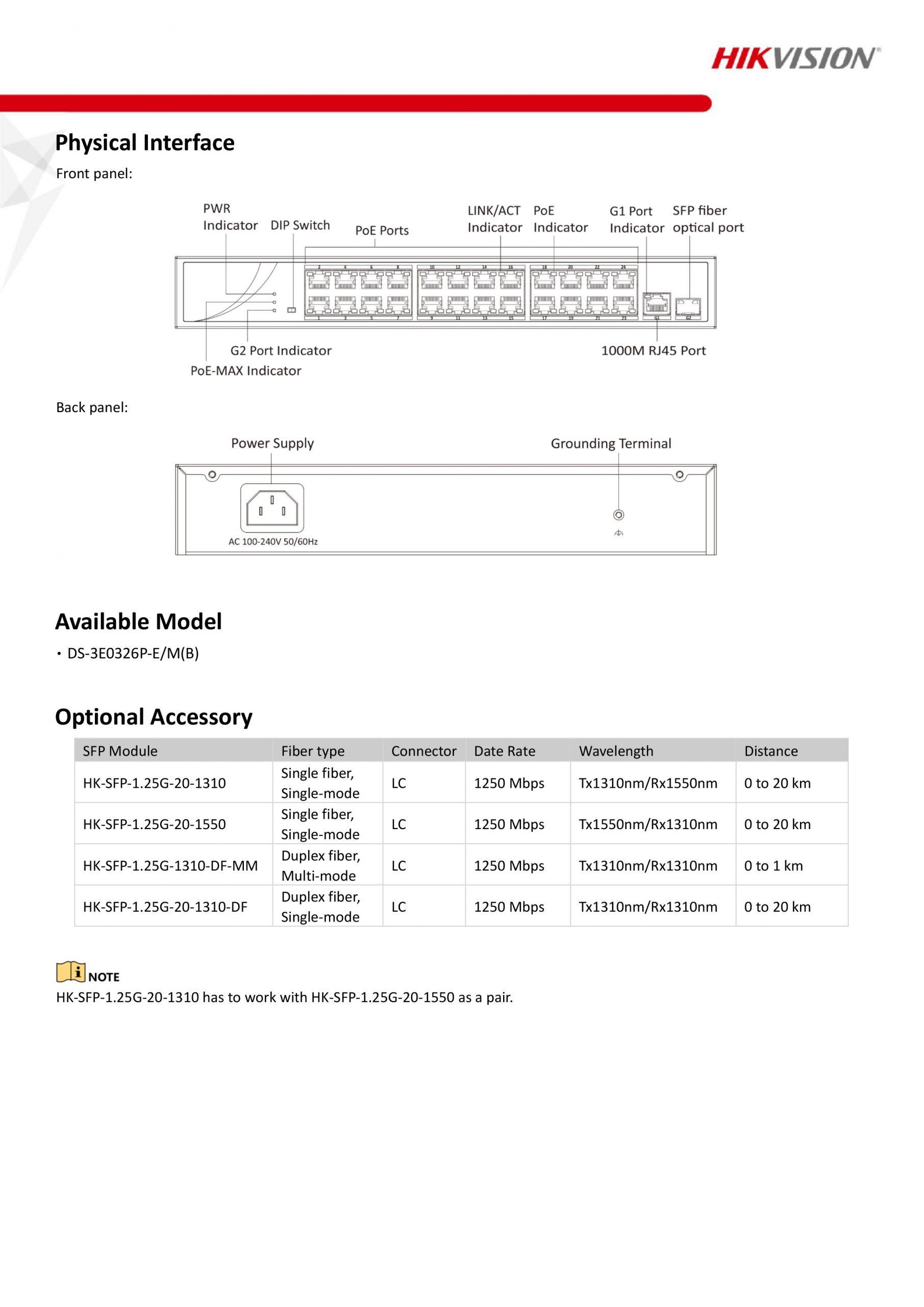 24-Port Long-Range Unmanaged PoE Switch - DS-3E0326P-E/M