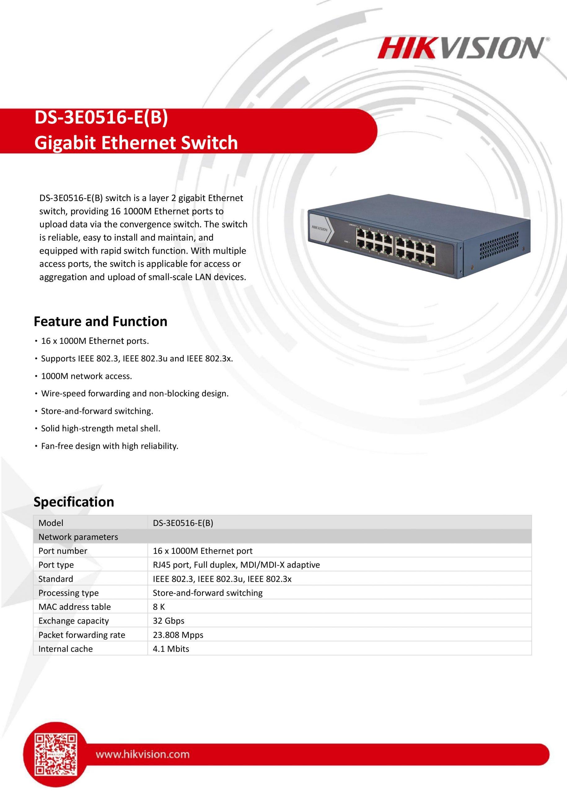 16-Port Gigabit Switch - DS-3E0516-E