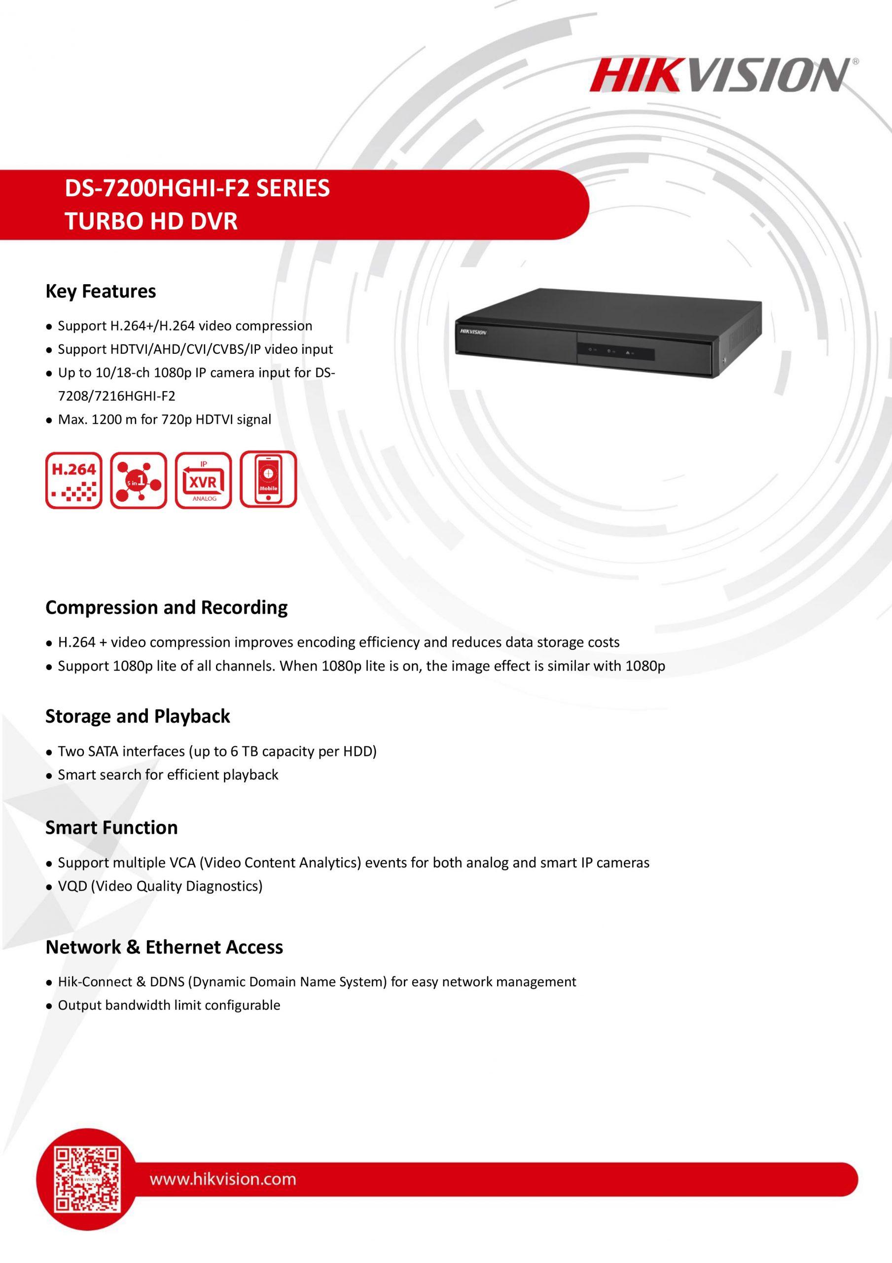 Hikvision DS-7216HGHI-F2 8 Channel DVR