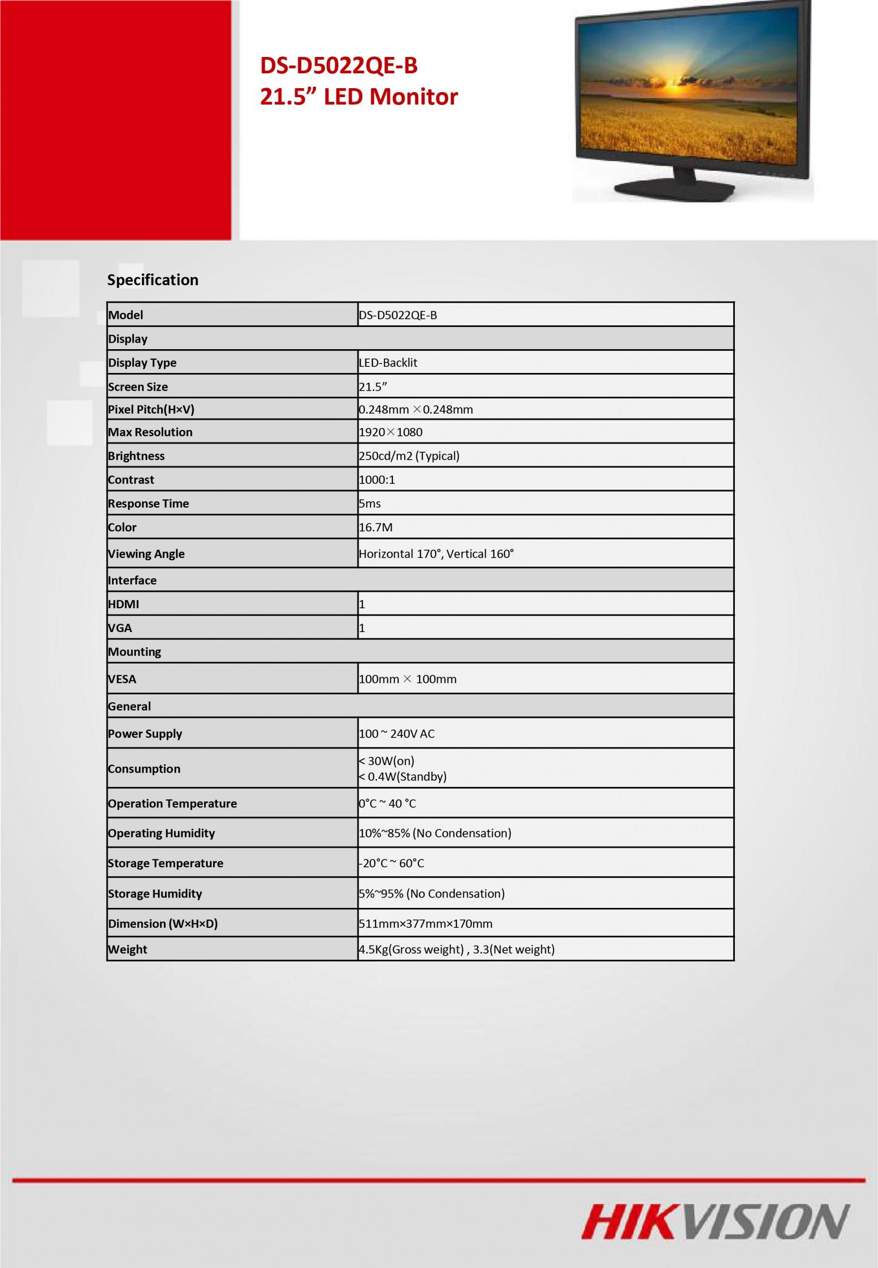 "Hikvision DS-D5022QE-B 21.5"" Full HD Surveillance Monitor"