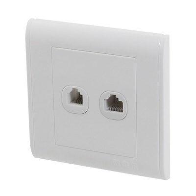 Double Faceplate Wit RJ11+RJ45 Keystone Jack