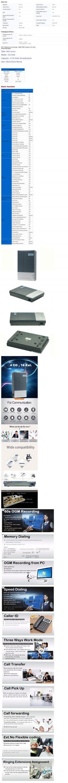 Excelltel PABX System 4Co Line 16 Extension