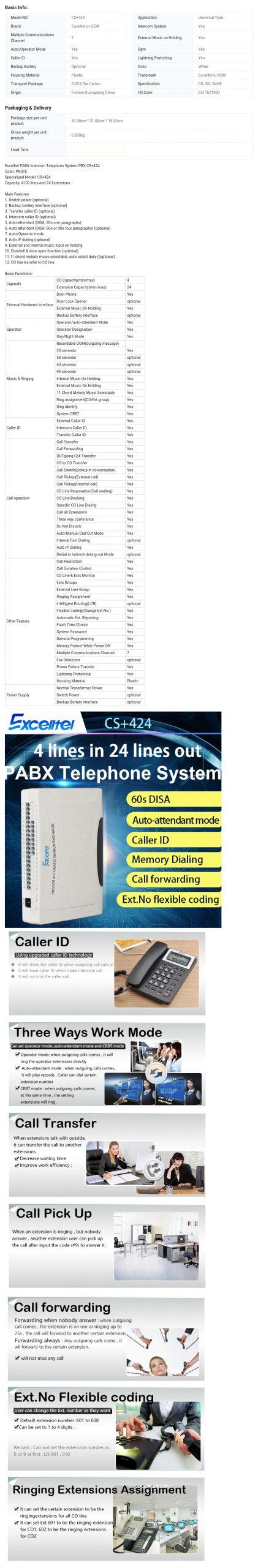 Excelltel PABX System 4Co Line 24 Extension