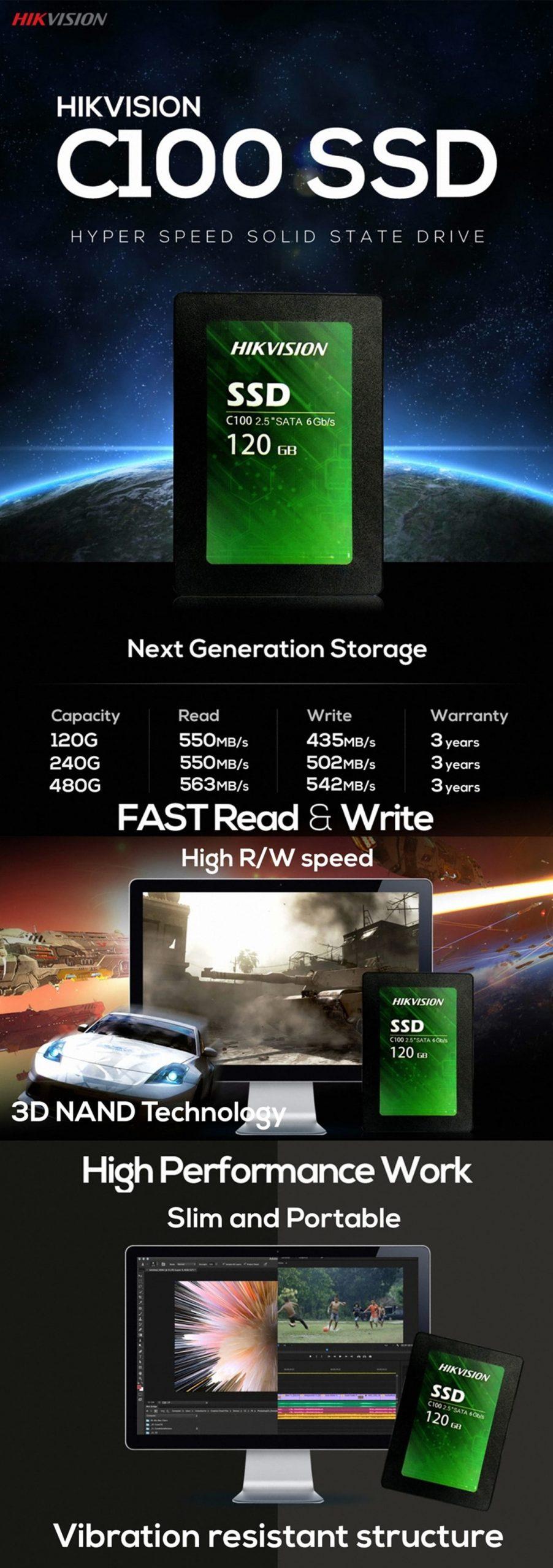 """Hikvision 120 GB C100 2.5"""" SATA SSD"""