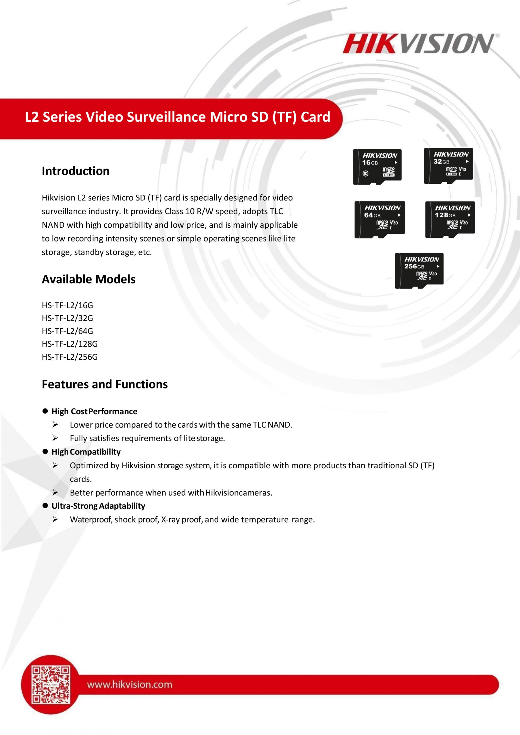 Hikvision L2 series Micro SD (TF) card